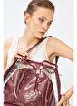 Deri Company Kadın Basic Omuz Çanta Transparan Düz Desen+Monogram Bordo Siyah  (4032Bs) 214025 Bordo